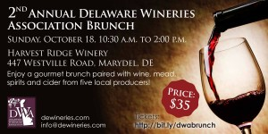 2nd Annual Delaware Wineries Association Sunday Brunch @ Harvest Ridge Winery | Marydel | Delaware | United States